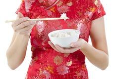 Het eten van rijst stock foto