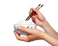 Het eten van Rijst (Nadruk op Rijst) Royalty-vrije Stock Afbeeldingen
