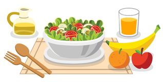 Het eten van salades Dieetvoedsel voor het leven Gezond Voedsel royalty-vrije illustratie