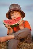 Het eten van sappige watermeloen Royalty-vrije Stock Fotografie