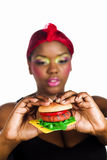 Het eten van snel voedsel Stock Fotografie