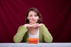 Het eten van vrouw 3 royalty-vrije stock afbeelding