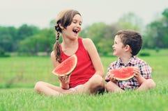 Het eten van Watermeloen Royalty-vrije Stock Fotografie