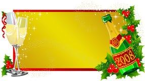 Het etiket Champagne van Kerstmis Stock Foto