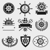 Het etiket en het elementenreeks van het schipstuurwiel Vector Stock Afbeeldingen