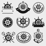 Het etiket en het elementenreeks van het schipstuurwiel Vector Royalty-vrije Stock Fotografie