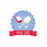 Het etiket, het embleem of het symbool van de wijnwinkel ontwerpen malplaatje met twee glazen en lint Stock Foto