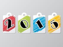 het etiket van 2015 dat met gekrabbelde kleuren wordt geplaatst Stock Afbeeldingen