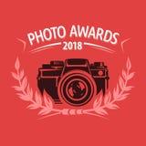 Het etiket van de fototoekenning voor de fotoconcurrentie Stock Foto