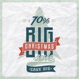 Het etiket van de Kerstmisverkoop Stock Afbeeldingen