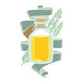 Het etiket van de kleurengravure van schoonheidsmiddelen of geneeskunde Glasfles met rozemarijnolie en bloem Royalty-vrije Stock Fotografie