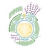 Het etiket van de kleurengravure van schoonheidsmiddelen of geneeskunde Ronde fles met lavendelolie Royalty-vrije Stock Foto's