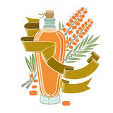Het etiket van de kleurengravure voor geïsoleerde voedselgeneeskunde of schoonheidsmiddelenproductie Glasfles van de overzeese de Stock Afbeelding