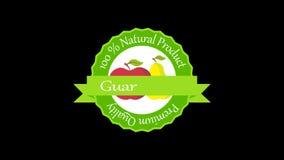Het etiket van de kwaliteitswaarborg met vruchten bio4k animatie stock video