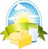 Het etiket van de melk en van de kaas Royalty-vrije Stock Fotografie