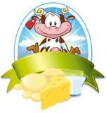 Het etiket van de melk met koe Royalty-vrije Stock Afbeeldingen