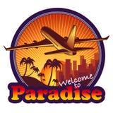 Het etiket van de paradijsreis stock foto's