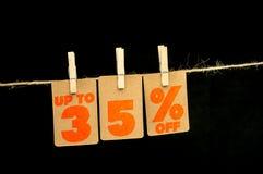 het etiket van de 35 percentenkorting Stock Afbeelding