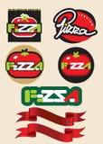 Het etiket van de pizza Stock Foto