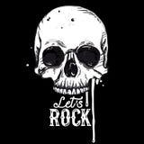 Het etiket van de rotsschedel royalty-vrije illustratie