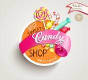 Het etiket van de suikergoedwinkel Stock Foto's