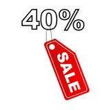 Het etiket van de verkoop met 40% korting stock illustratie