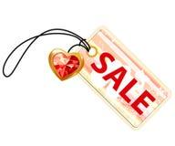 Het etiket van de verkoop met gouden hart Stock Afbeelding
