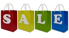 Het etiket van de verkoop op het winkelen document zak Royalty-vrije Stock Foto