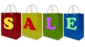 Het etiket van de verkoop op het winkelen document zak Royalty-vrije Stock Foto's