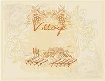 Het etiket van de wijn - hand getrokken wijngaard vector illustratie