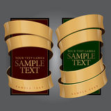 Het Etiket van de wijn met een gouden lint. Vector illustratie Stock Foto's