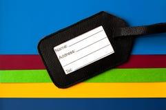 Het etiket van het adres van zwart leer stock afbeelding