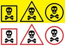 Het etiket van het gevaar - schedelsymbool. royalty-vrije illustratie