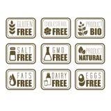 Het Etiket van het gluten Vrije, Natuurlijke Product Royalty-vrije Stock Foto's