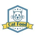 Het etiket van het kattenvoedsel Stock Fotografie