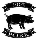 het etiket van het 100 percentenvarkensvlees Stock Foto's
