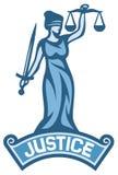 Het etiket van het rechtvaardigheidsstandbeeld Stock Foto's