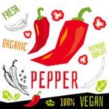 Het etiket verse organische groente van het peperpictogram, van het de kruidenkruid van groentennoten van de de specerijkleur voe stock illustratie