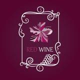 Het etiketachtergrond van wijndruiven Stock Foto's