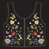 Het etnische bloemenpatroon van de borduurwerktendens met papavers en vlinders voor de rug van het jeansjasje vector illustratie