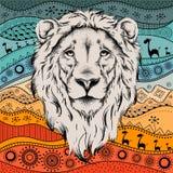Het etnische hoofd van de handtekening van leeuw op Afrikaans hand-drawn ethnopatroon royalty-vrije illustratie