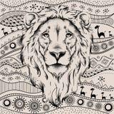 Het etnische hoofd van de handtekening van leeuw op Afrikaans hand-drawn ethnopatroon totem/tatoegeringsontwerp Gebruik voor druk royalty-vrije illustratie