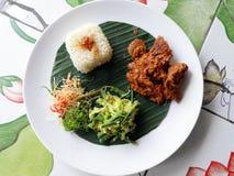 Het etnische voedsel van Bali, rundvleeskerrie rendang Stock Afbeeldingen