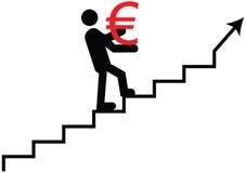 Het euro beklimmen Euro waarde die vectorpictogram uitgaan Royalty-vrije Stock Afbeelding