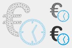 Het het euro 2D Model van het Krediet Vectornetwerk en Pictogram van het Driehoeksmozaïek vector illustratie