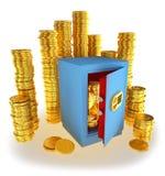 Het euro geld van muntstukken in de brandkast Royalty-vrije Stock Afbeelding