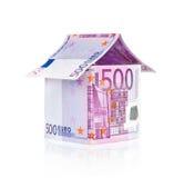 Het euro huis van rekeningen Royalty-vrije Stock Afbeelding