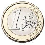 Het euro Muntstuk isoleerde Voorzijde Stock Fotografie