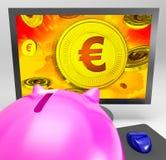 Het euro Muntstuk toont Financiënrijkdom en Besparingen stock illustratie