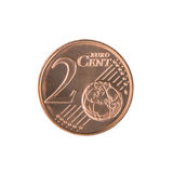 Het Euro Muntstuk van Cent twee Royalty-vrije Stock Afbeeldingen